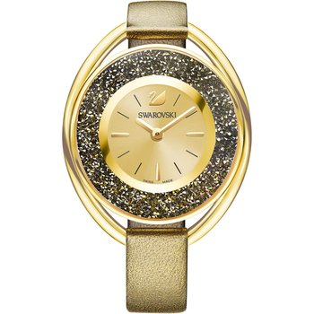Crystalline Oval Watch, Leather strap, Golden, Gold-tone PVD