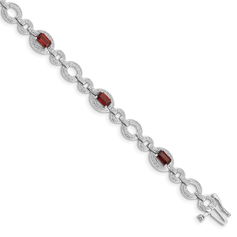 Quality Gold Sterling Silver Rhodium-plated Diamond & Garnet Oval Link Bracelet