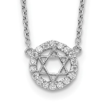 Sterling Silver Rhodium-plated CZ Star of David w/ 2in ext. Necklace