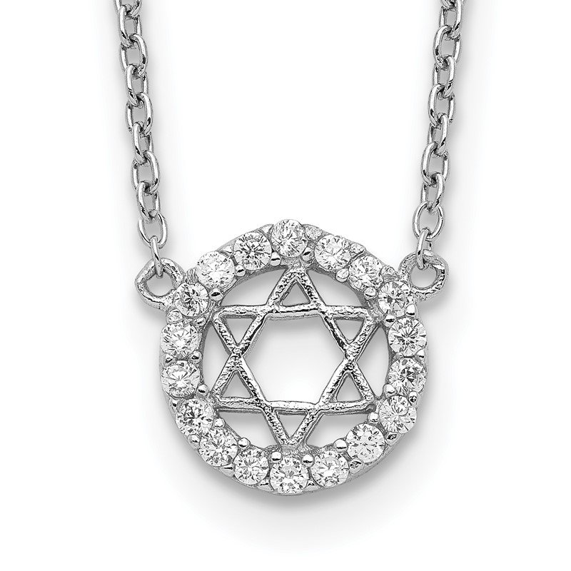Fine Jewelry by JBD Sterling Silver Rhodium-plated CZ Star of David w/ 2in ext. Necklace