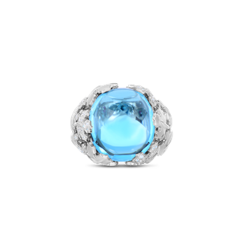 18Kt Gold Cabochon Ring With Topaz And Diamonds