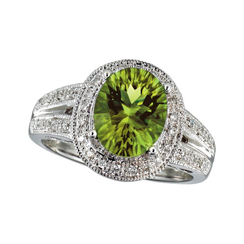 Color Merchants 14k White Gold  Large Oval Peridot And Diamond Ring