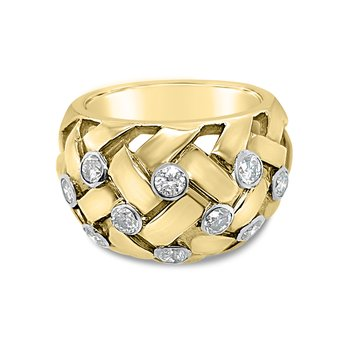 18K Yellow Gold Diamond Braided Wide Fashion Band