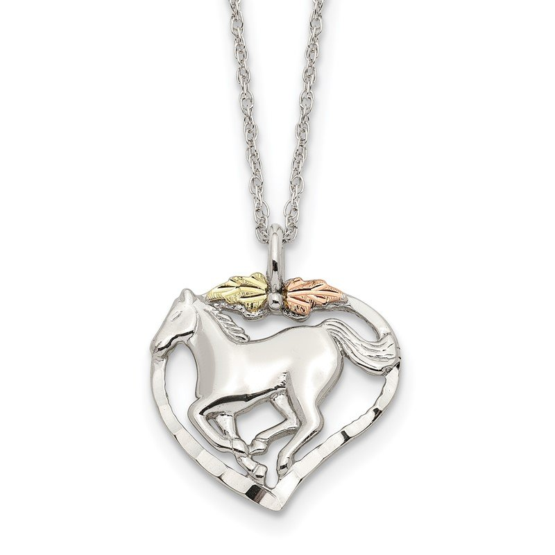 Fine Jewelry by JBD Sterling Silver & 12K Horse In Heart Necklace