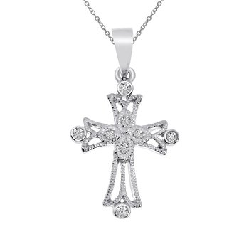 14k White Gold Small Milgrain Diamond Cross Pendant
