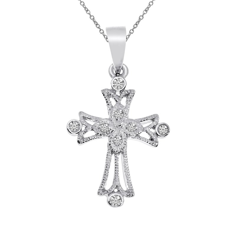 Color Merchants 14k White Gold Small Milgrain Diamond Cross Pendant