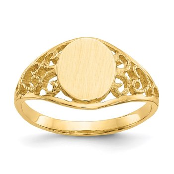 14k 8.5x7.5mm Satin Open Back Filigree Signet Ring