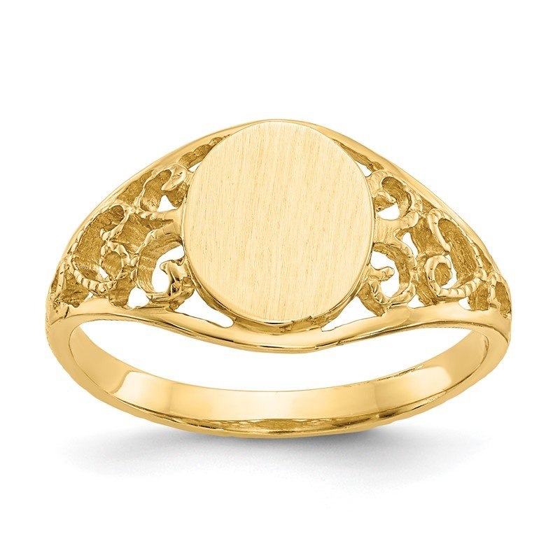 Quality Gold 14k 8.5x7.5mm Satin Open Back Filigree Signet Ring