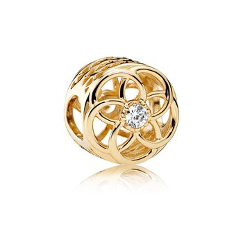 Loving Bloom Charm, 14K Gold Clear Cz
