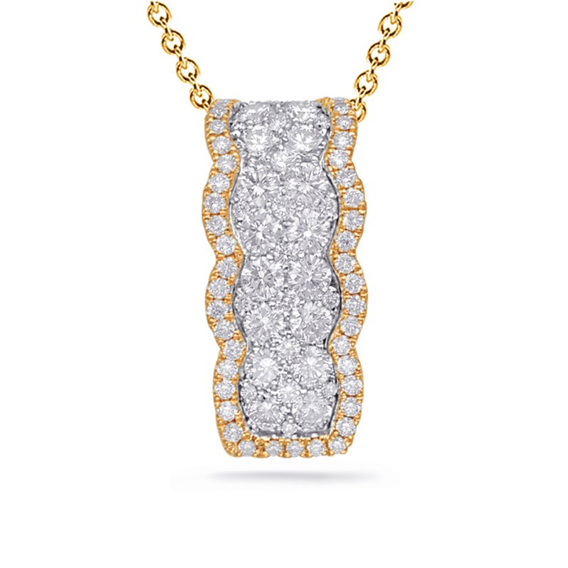 S. Kashi  & Sons White & Yellow Gold Diamond Pendant