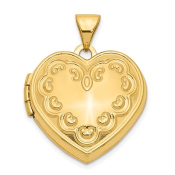 14k Domed Heart Locket