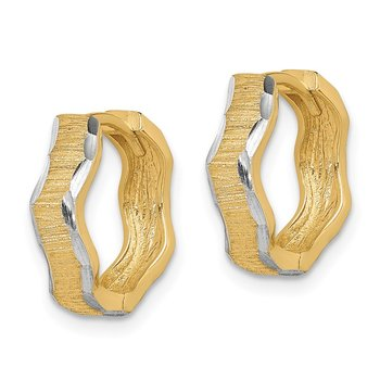 14K with White Rhodium D/C Texture Wave Hoop Earrings