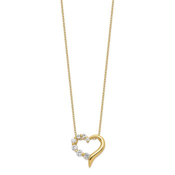 Sterling Silver Vermeil CZ Heart Journey Necklace