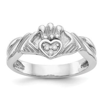 14KW 1/20ct AA Diamond Claddagh Ring