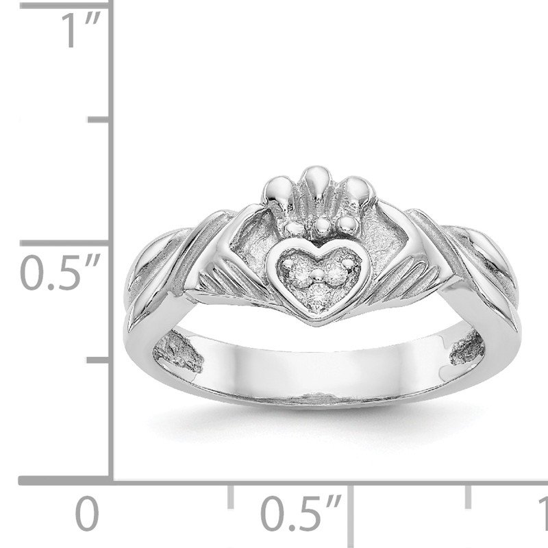 Quality Gold 14KW 1/20ct AA Diamond Claddagh Ring