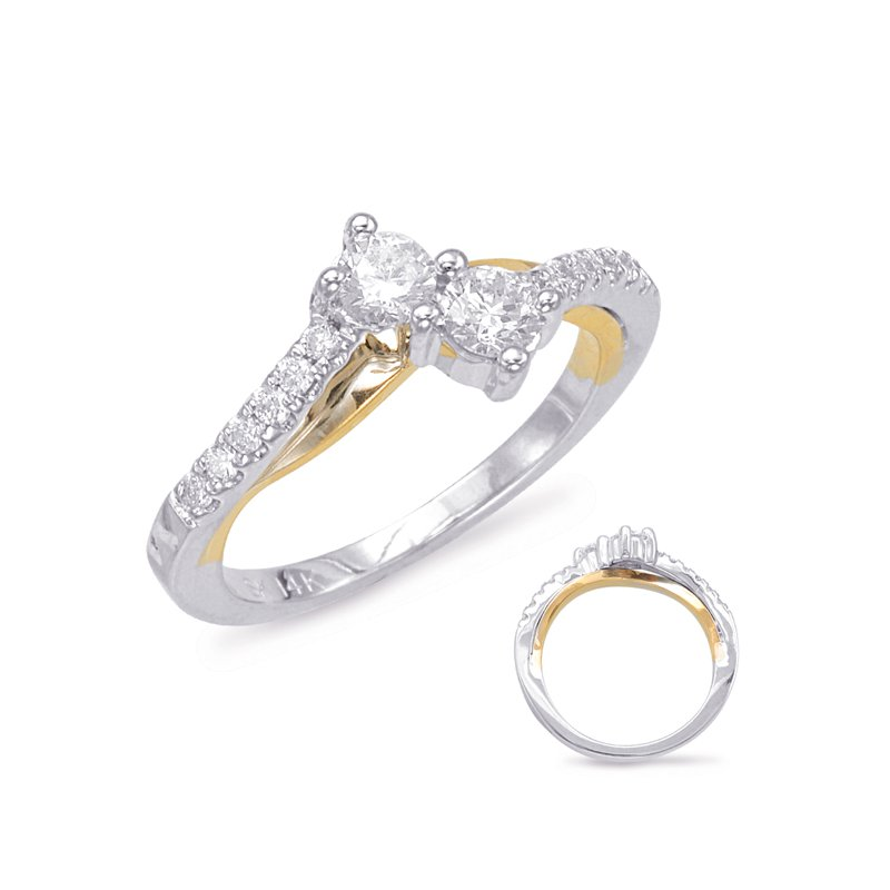 S. Kashi  & Sons White & Yellow Gold Two Stone