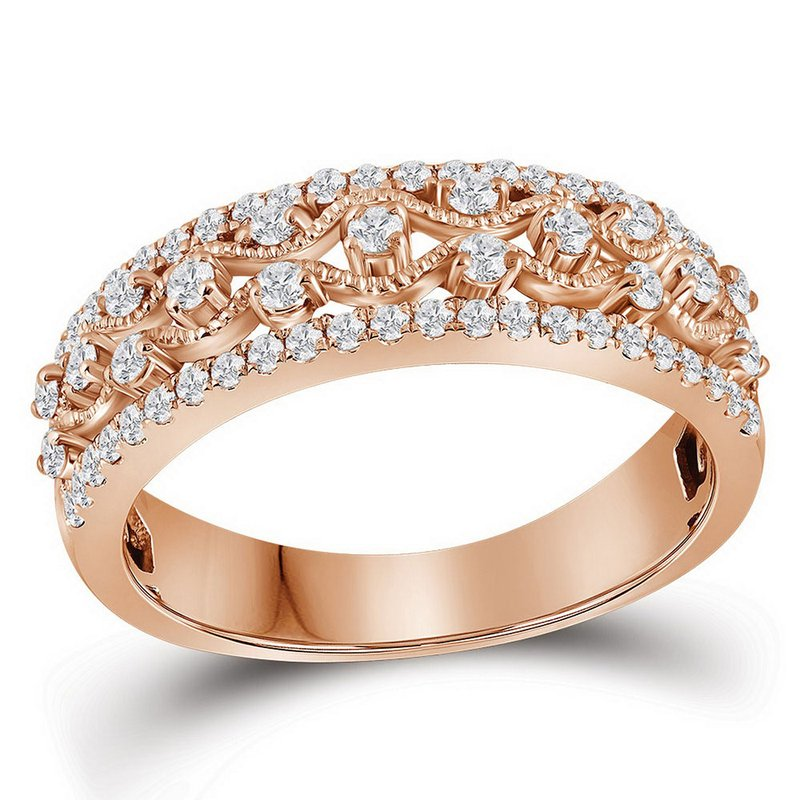 Kingdom Treasures 10kt Rose Gold Womens Round Diamond Roped Woven Band Ring 1/2 Cttw