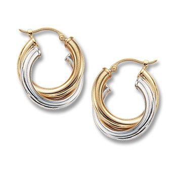 14kt Yel & Wh Double Tube Earrings