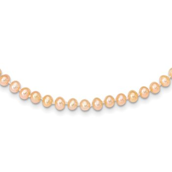 14k 4-5mm Pink Near Round Freshwater Cultured Pearl Necklace