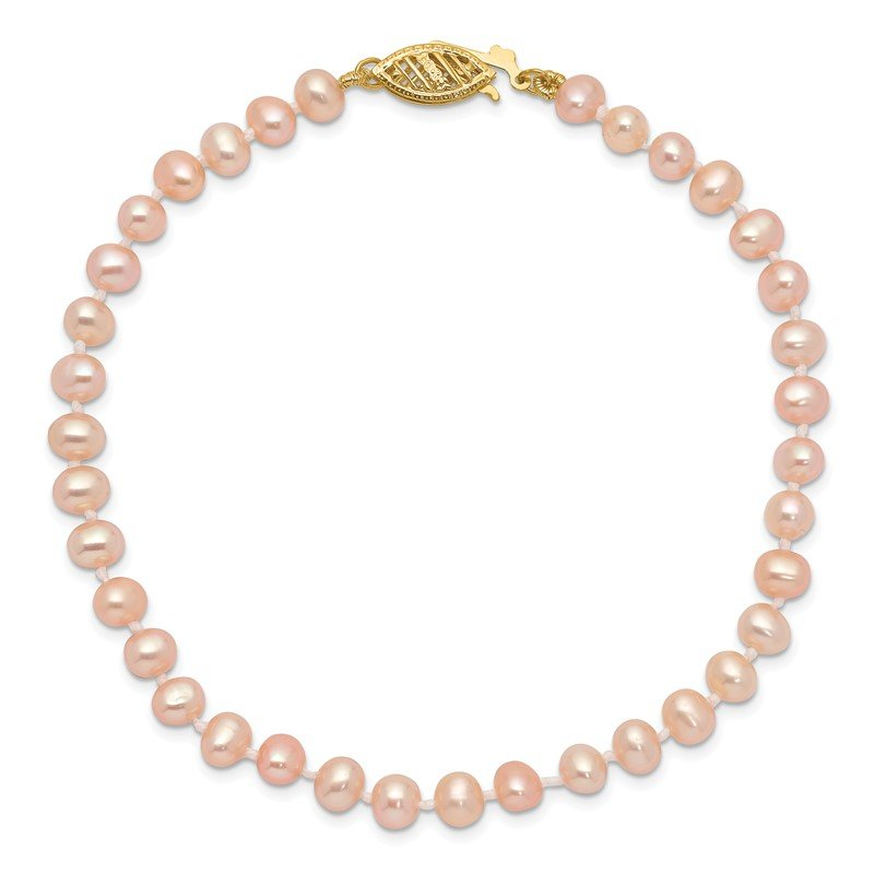 Quality Gold 14k 4-5mm Pink Near Round Freshwater Cultured Pearl Necklace