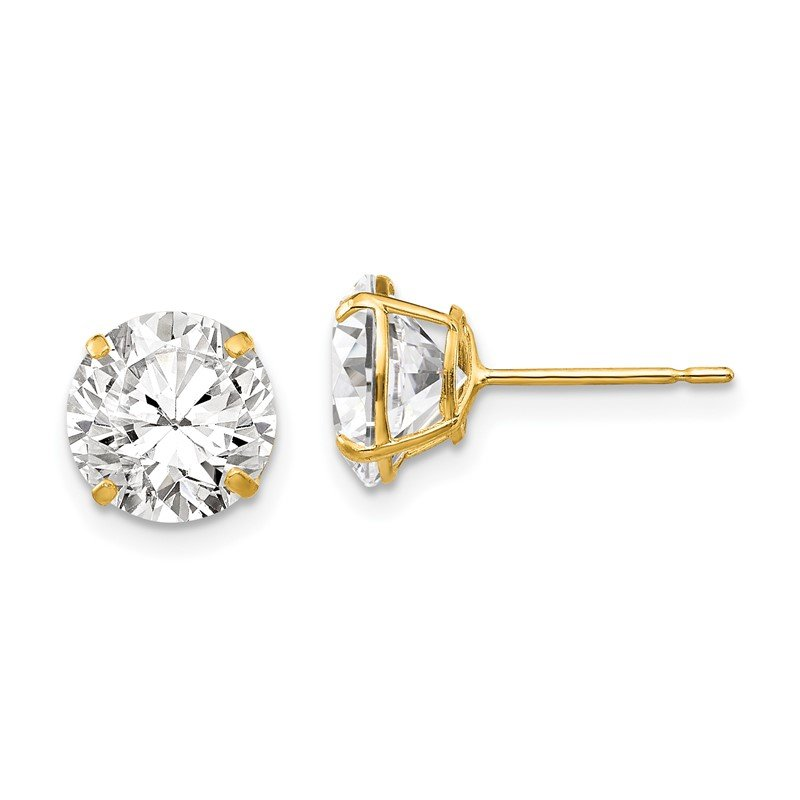 Quality Gold 14k 8mm Round CZ Post Earrings