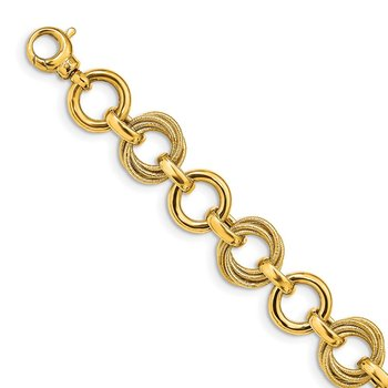 14K Polished & Textured Fancy Link Bracelet