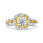 18K Two Tone Gold Cushion Cut Diamond Double Halo Engagement Ring with Split Shank (Semi-Mount)