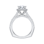 Carizza 14K White Gold Round Cut Diamond Halo Engagement Ring with Euro Shank (Semi-Mount)