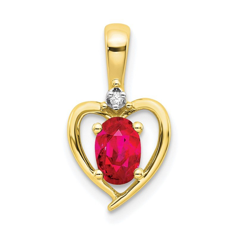 Quality Gold 10K Diamond and Ruby Pendant