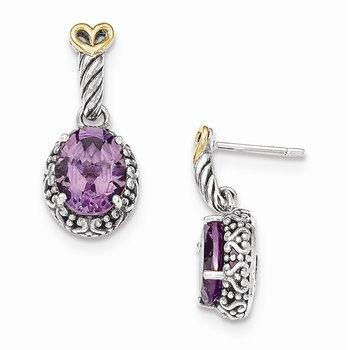 Sterling Silver w/14ky Amethyst Post Dangle Earrings