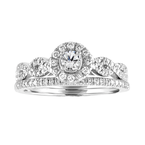 Blissful Bride BLISS15: 14KW 1/2cttw Round Halo Crossover Bridal Set