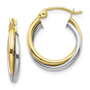 10K Two-tone Twist Hoop Earring