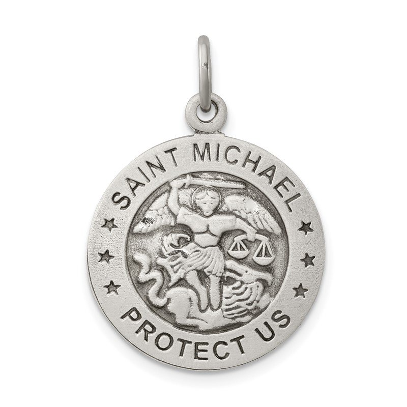 Arizona Diamond Center Collection Sterling Silver Antiqued Saint Michael Air Force Medal