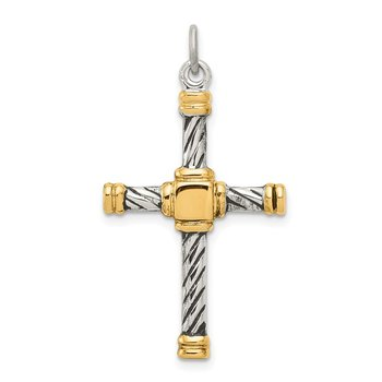 Sterling Silver Antiqued & 18k Gold - plated Cross Pendant