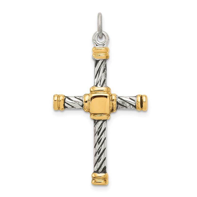 Quality Gold Sterling Silver Antiqued & 18k Gold - plated Cross Pendant