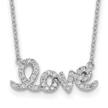 Sterling Silver Rhodium-plated CZ LOVE w/1in ext Necklace