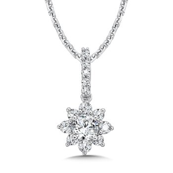 Floral Diamond Pendant with Diamond Bale in 14K White Gold (1/4 ct. tw.)