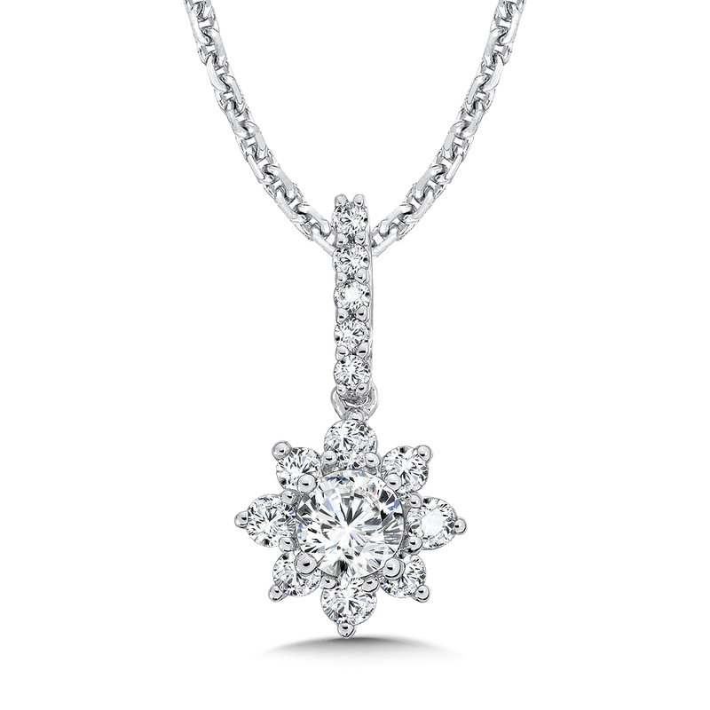 Segners jewelers caro74 floral diamond pendant with diamond bale caro74 floral diamond pendant with diamond bale in 14k white gold 14 ct aloadofball Images