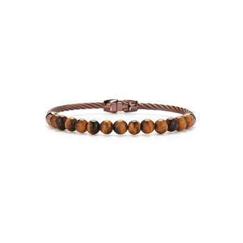 Single Row Bronze Cable & Tiger Eye Bracelet
