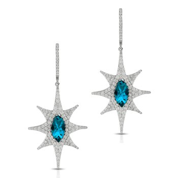 London Blue Topaz Diamond Dangles 18KW