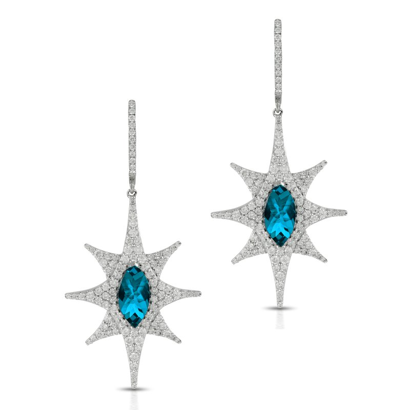 Doves London Blue Topaz Diamond Dangles 18KW