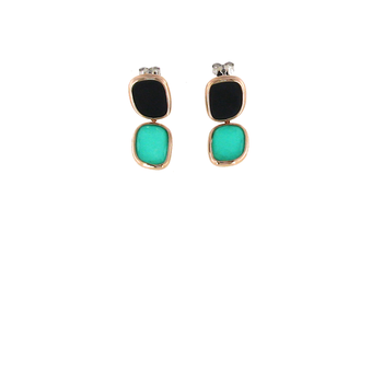 18KT GOLD EARRINGS WITH BLACK JADE AND GREEN AGATE