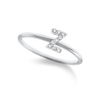 "Diamond Typewriter Initial ""Z"" Ring"