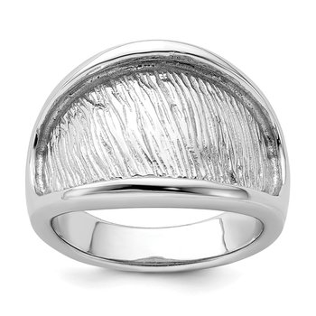 Sterling Silver Rhodium-plated Textured and Polished Ring