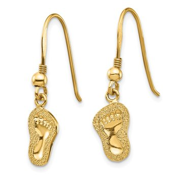 14K Footprints Shepherd Hook Earrings