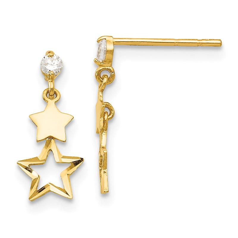 14K Yellow Gold Madi K Childrens 2 MM CZ Dangle Post Stud Earrings