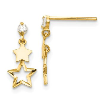 14k Madi K CZ Polished Star Post Dangle Earrings