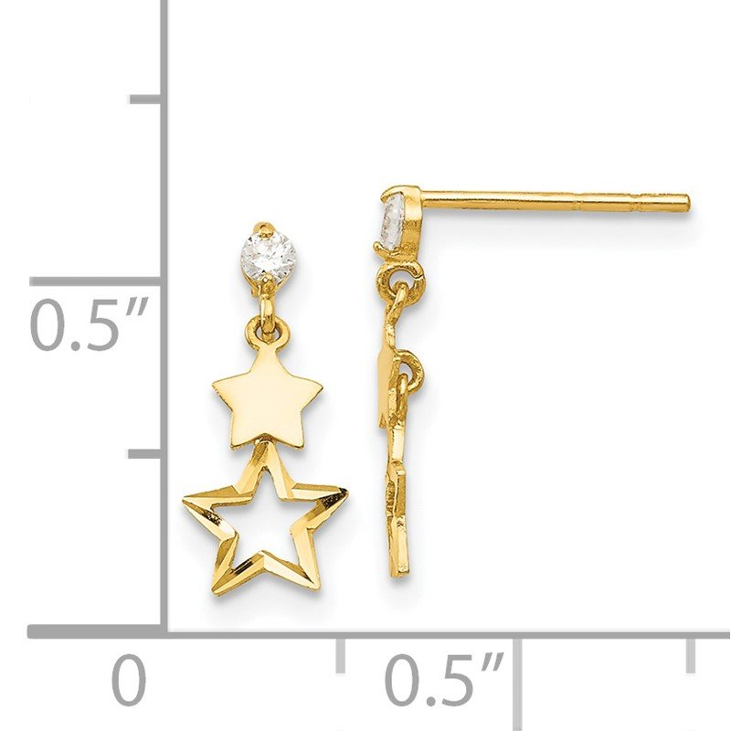 Quality Gold 14k Madi K CZ Polished Star Post Dangle Earrings