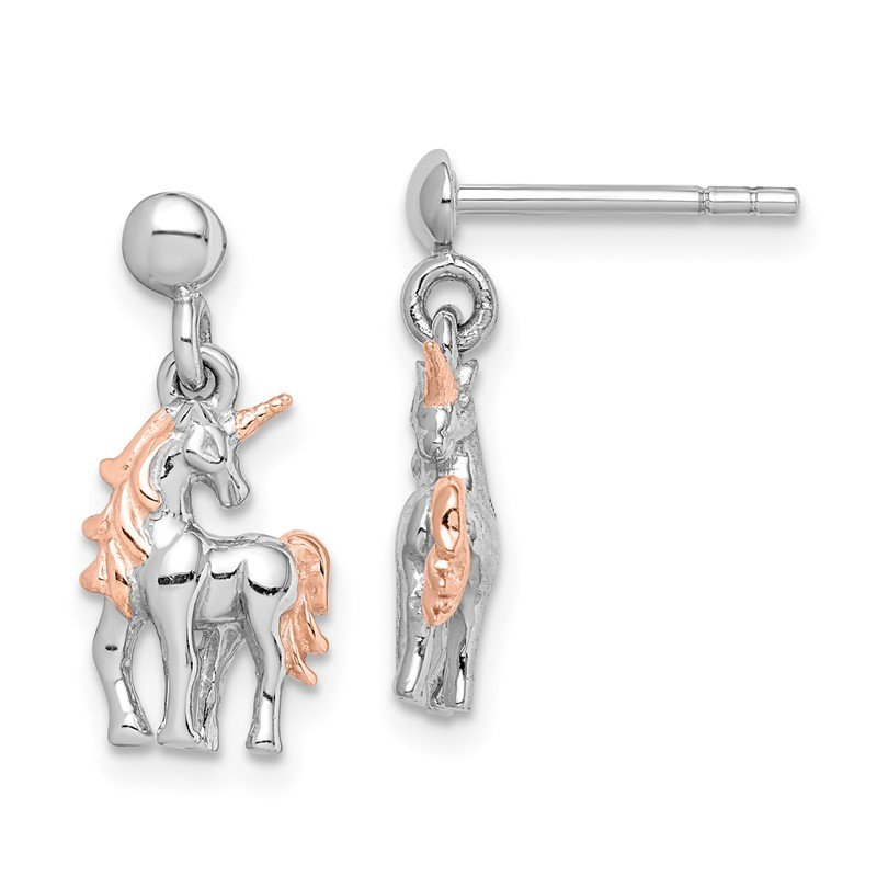 Quality Gold Sterling Silver Rhodium-plated Rose Gold-plated Unicorn Post Earrings
