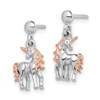 Sterling Silver Rhodium-plated Rose Gold-plated Unicorn Post Earrings